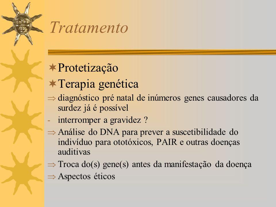 Tratamento Protetização Terapia genética diagnóstico pré natal de inúmeros genes causadores da surdez já é possível - interromper a gravidez ? Análise
