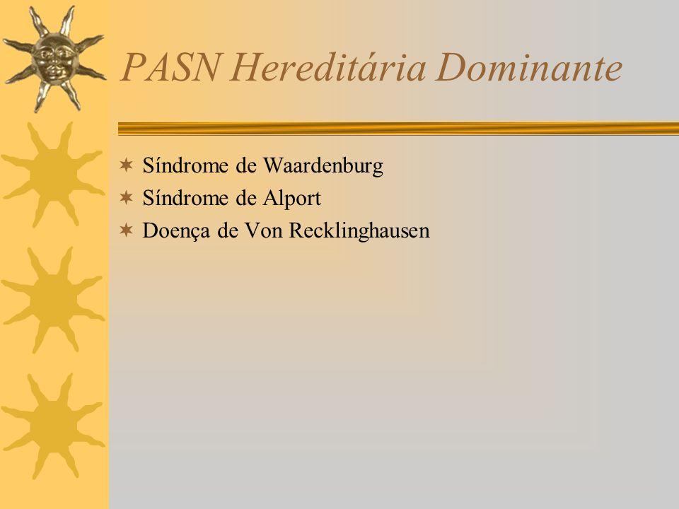PASN Hereditária Dominante Síndrome de Waardenburg Síndrome de Alport Doença de Von Recklinghausen