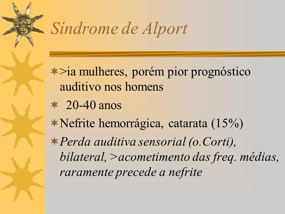 Síndrome de Alport >ia mulheres, porém pior prognóstico auditivo nos homens 20-40 anos Nefrite hemorrágica, catarata (15%) Perda auditiva sensorial (o