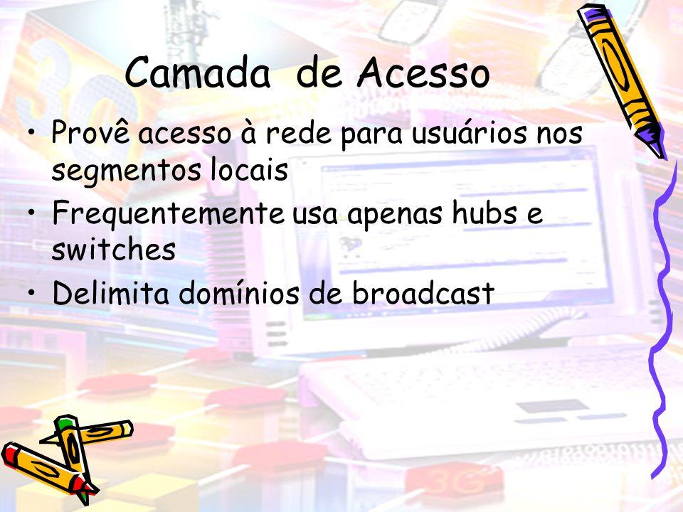 Camada de Acesso Provê acesso à rede para usuários nos segmentos locais Frequentemente usa apenas hubs e switches Delimita domínios de broadcast