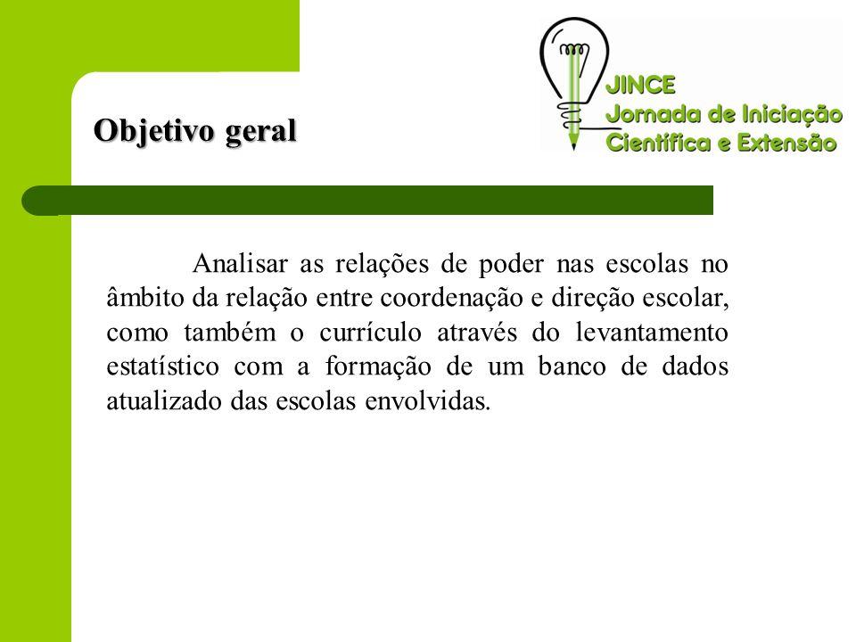 Objetivo geral Analisar as relações de poder nas escolas no âmbito da relação entre coordenação e direção escolar, como também o currículo através do