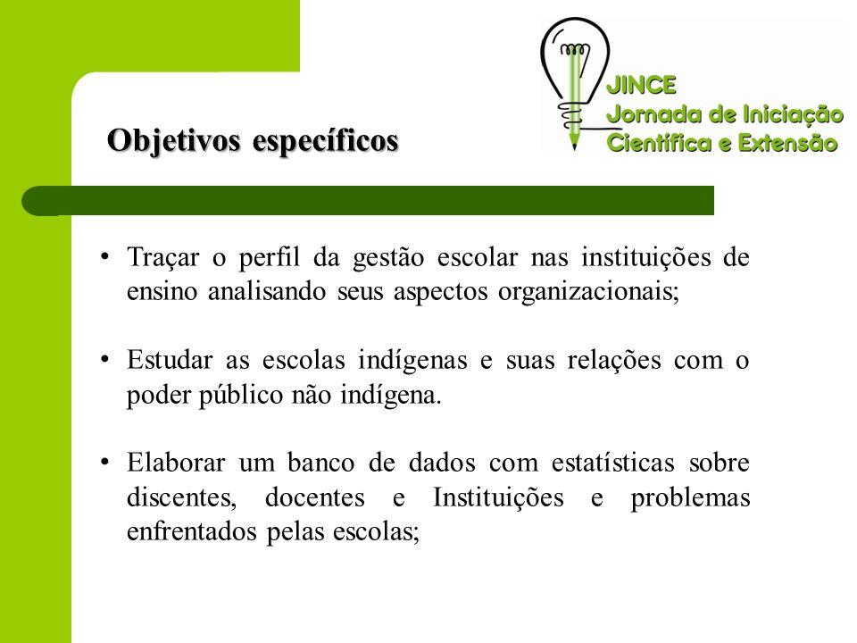 Objetivos específicos Traçar o perfil da gestão escolar nas instituições de ensino analisando seus aspectos organizacionais; Estudar as escolas indíge