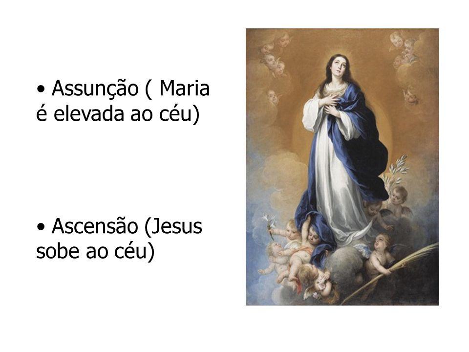 Assunção ( Maria é elevada ao céu) Ascensão (Jesus sobe ao céu)