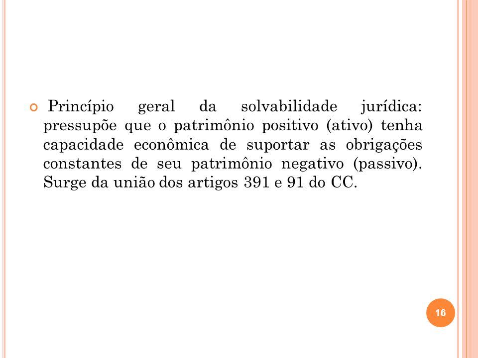 Princípio geral da solvabilidade jurídica: pressupõe que o patrimônio positivo (ativo) tenha capacidade econômica de suportar as obrigações constantes