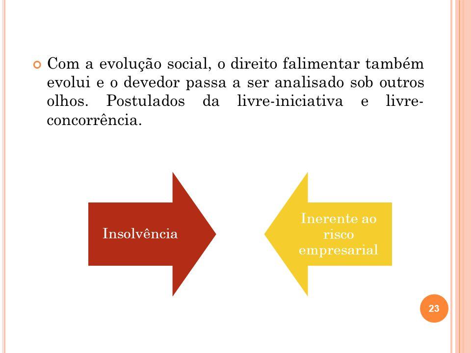 23 Com a evolução social, o direito falimentar também evolui e o devedor passa a ser analisado sob outros olhos. Postulados da livre-iniciativa e livr
