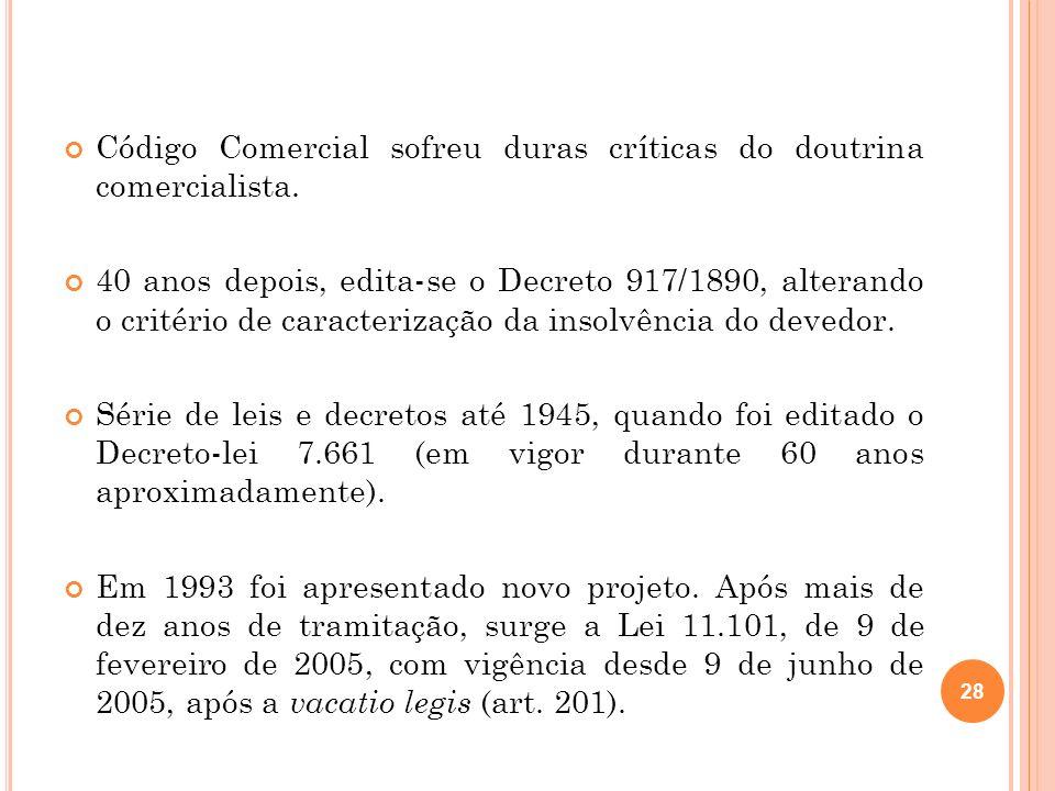 Código Comercial sofreu duras críticas do doutrina comercialista. 40 anos depois, edita-se o Decreto 917/1890, alterando o critério de caracterização