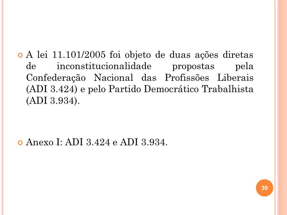 A lei 11.101/2005 foi objeto de duas ações diretas de inconstitucionalidade propostas pela Confederação Nacional das Profissões Liberais (ADI 3.424) e