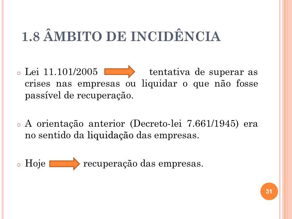 1.8 ÂMBITO DE INCIDÊNCIA o Lei 11.101/2005 tentativa de superar as crises nas empresas ou liquidar o que não fosse passível de recuperação. liquidação