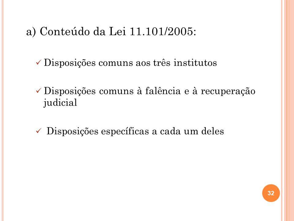 32 a) Conteúdo da Lei 11.101/2005: Disposições comuns aos três institutos Disposições comuns à falência e à recuperação judicial Disposições específic