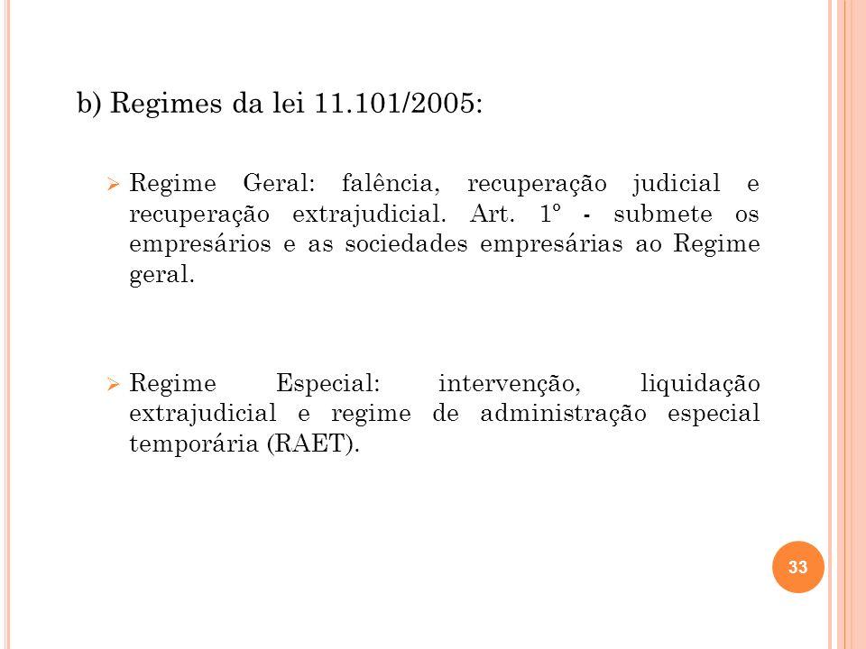b) Regimes da lei 11.101/2005: Regime Geral: falência, recuperação judicial e recuperação extrajudicial. Art. 1º - submete os empresários e as socieda