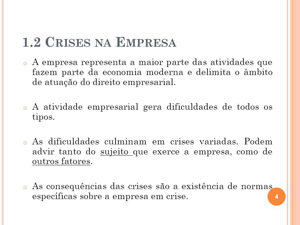 o São modalidades de crise nas empresas: * Crise de Rigidez – atividade não se adapta ao ambiente.