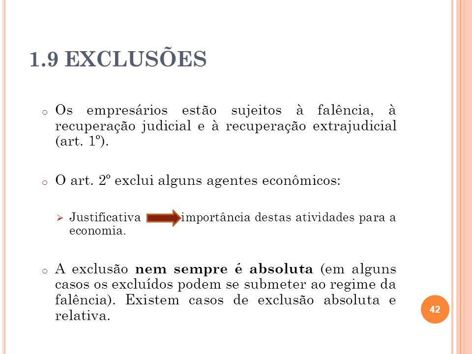 1.9 EXCLUSÕES o Os empresários estão sujeitos à falência, à recuperação judicial e à recuperação extrajudicial (art. 1º). o O art. 2º exclui alguns ag