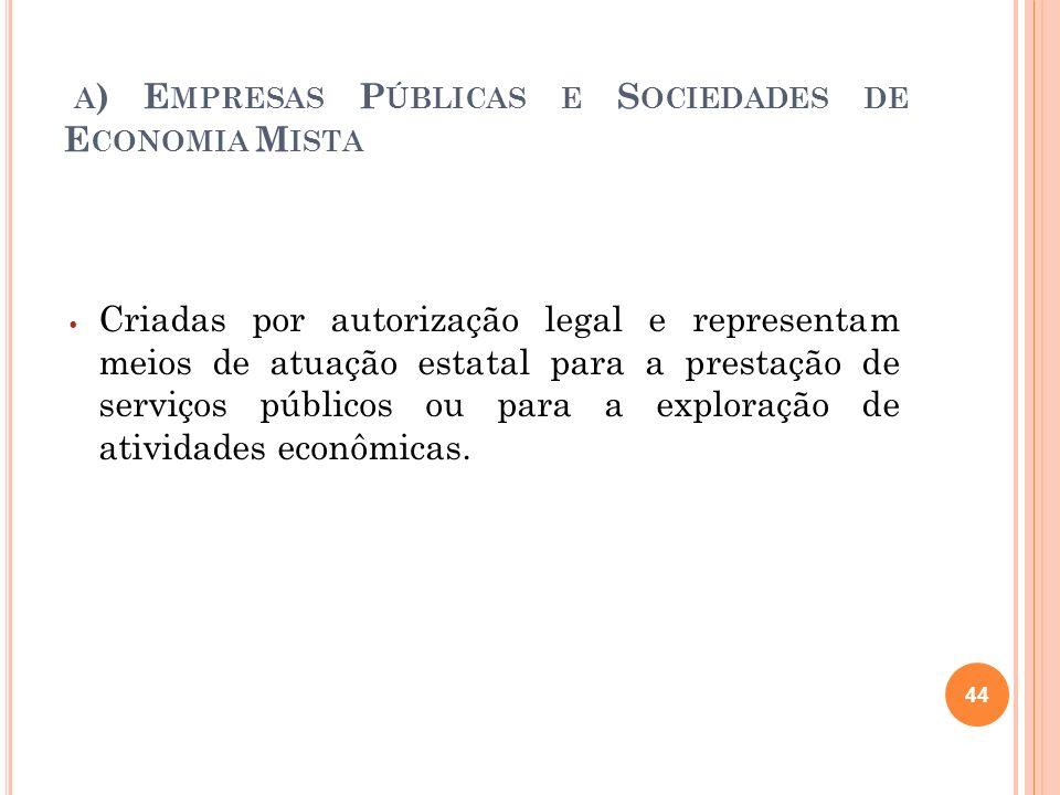 A ) E MPRESAS P ÚBLICAS E S OCIEDADES DE E CONOMIA M ISTA Criadas por autorização legal e representam meios de atuação estatal para a prestação de ser
