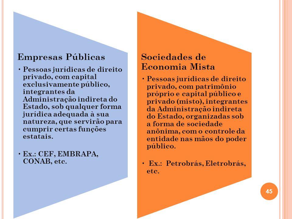 Empresas Públicas Pessoas jurídicas de direito privado, com capital exclusivamente público, integrantes da Administração indireta do Estado, sob qualq
