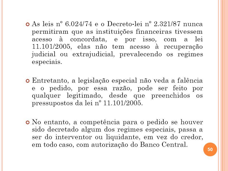 50 As leis nº 6.024/74 e o Decreto-lei nº 2.321/87 nunca permitiram que as instituições financeiras tivessem acesso à concordata, e por isso, com a le