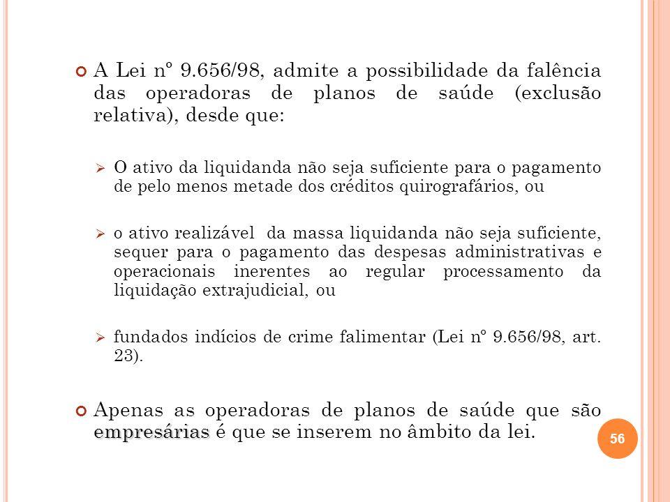 56 A Lei nº 9.656/98, admite a possibilidade da falência das operadoras de planos de saúde (exclusão relativa), desde que: O ativo da liquidanda não s