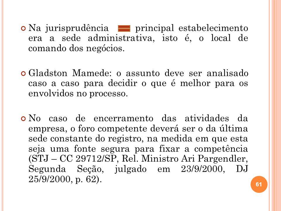 61 Na jurisprudência principal estabelecimento era a sede administrativa, isto é, o local de comando dos negócios. Gladston Mamede: o assunto deve ser