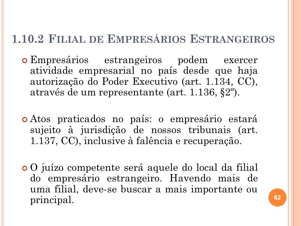 1.10.2 F ILIAL DE E MPRESÁRIOS E STRANGEIROS Empresários estrangeiros podem exercer atividade empresarial no país desde que haja autorização do Poder