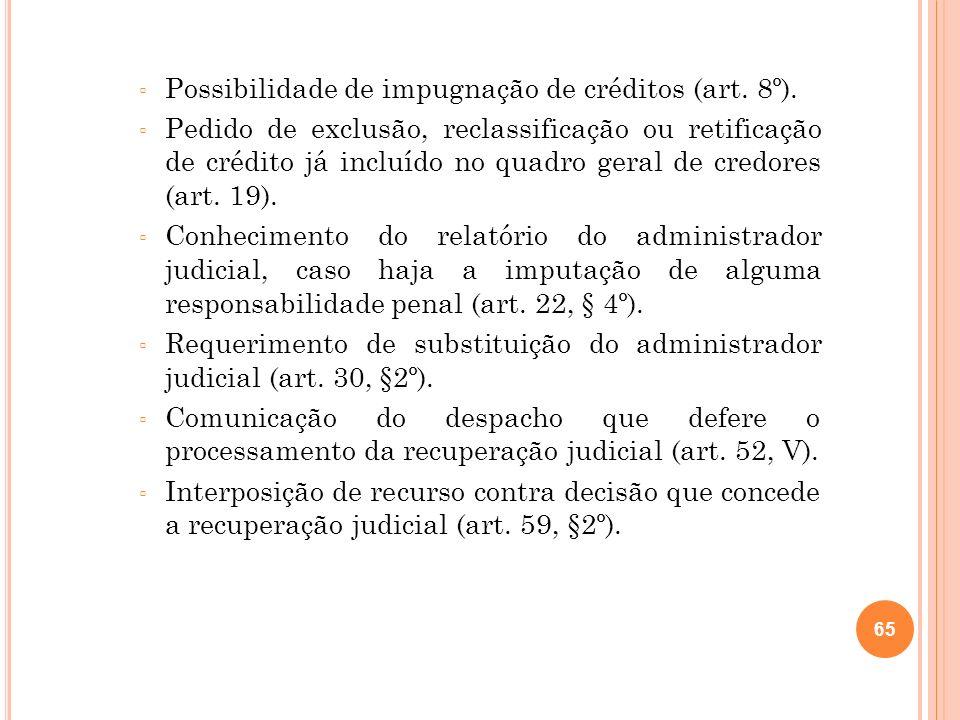 65 Possibilidade de impugnação de créditos (art. 8º). Pedido de exclusão, reclassificação ou retificação de crédito já incluído no quadro geral de cre