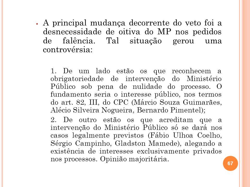 67 A principal mudança decorrente do veto foi a desnecessidade de oitiva do MP nos pedidos de falência. Tal situação gerou uma controvérsia: 1. De um