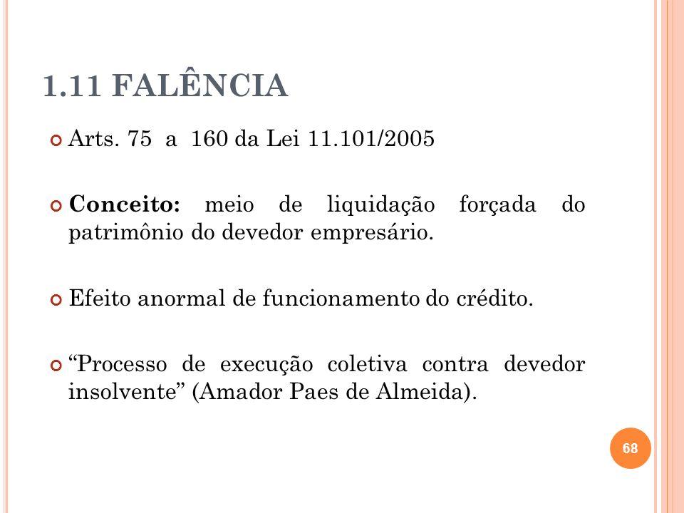 1.11 FALÊNCIA Arts. 75 a 160 da Lei 11.101/2005 Conceito: meio de liquidação forçada do patrimônio do devedor empresário. Efeito anormal de funcioname