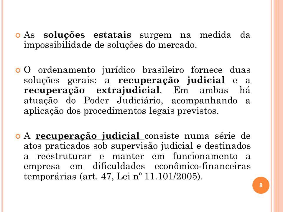 Principais alterações trazidas pela Lei 11.101/05: * Substituição da concordata pela recuperação judicial; * Aumento do prazo da contestação (24 horas para 10 dias); * Impontualidade injustificada em dívida superior a 40 salários mínimos; * Redução da participação do MP; * Alteração de participação do síndico, chamado agora de administrador judicial; * Mudança da ordem de classificação dos créditos e previsão de créditos extraconcursais; * Alteração de regras relativas à ação revocatória; * Fim da medida cautelar de verificação de contas; * Fim do inquérito judicial; * Criação da recuperação extrajudicial.