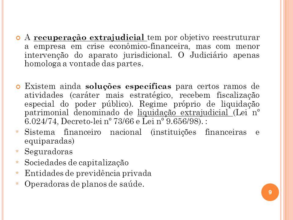 50 As leis nº 6.024/74 e o Decreto-lei nº 2.321/87 nunca permitiram que as instituições financeiras tivessem acesso à concordata, e por isso, com a lei 11.101/2005, elas não tem acesso à recuperação judicial ou extrajudicial, prevalecendo os regimes especiais.