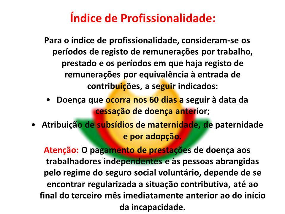 Índice de Profissionalidade: Para o índice de profissionalidade, consideram-se os períodos de registo de remunerações por trabalho, prestado e os perí