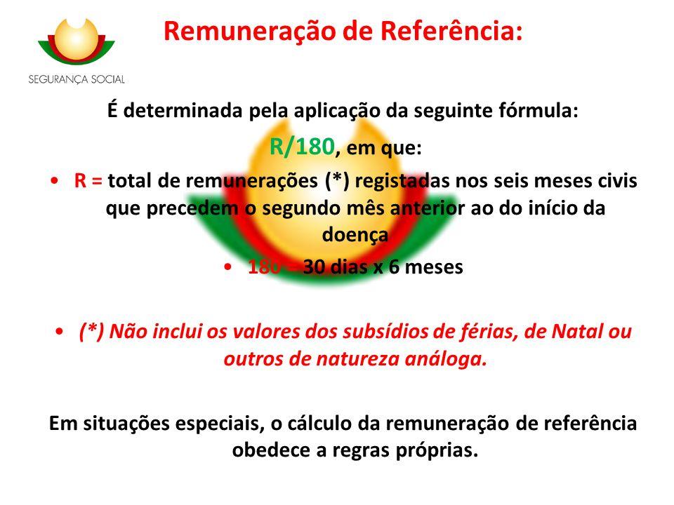 Remuneração de Referência: É determinada pela aplicação da seguinte fórmula: R/180, em que: R = total de remunerações (*) registadas nos seis meses ci