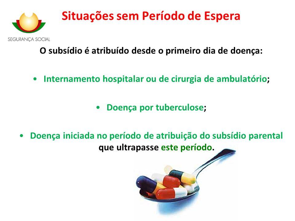 Situações sem Período de Espera O subsídio é atribuído desde o primeiro dia de doença: Internamento hospitalar ou de cirurgia de ambulatório; Doença p