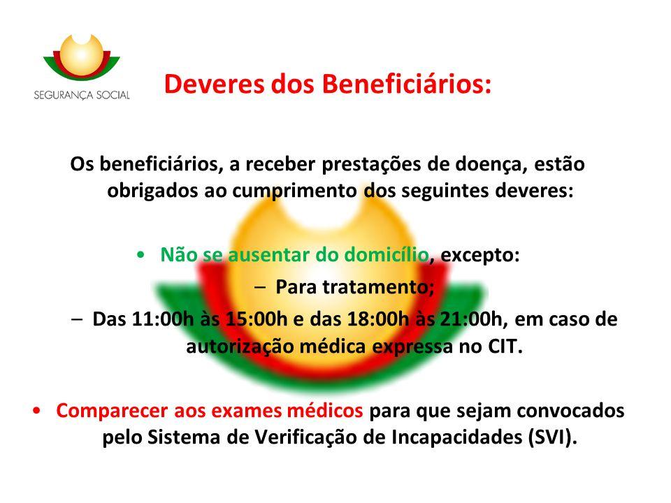 Deveres dos Beneficiários: Os beneficiários, a receber prestações de doença, estão obrigados ao cumprimento dos seguintes deveres: Não se ausentar do