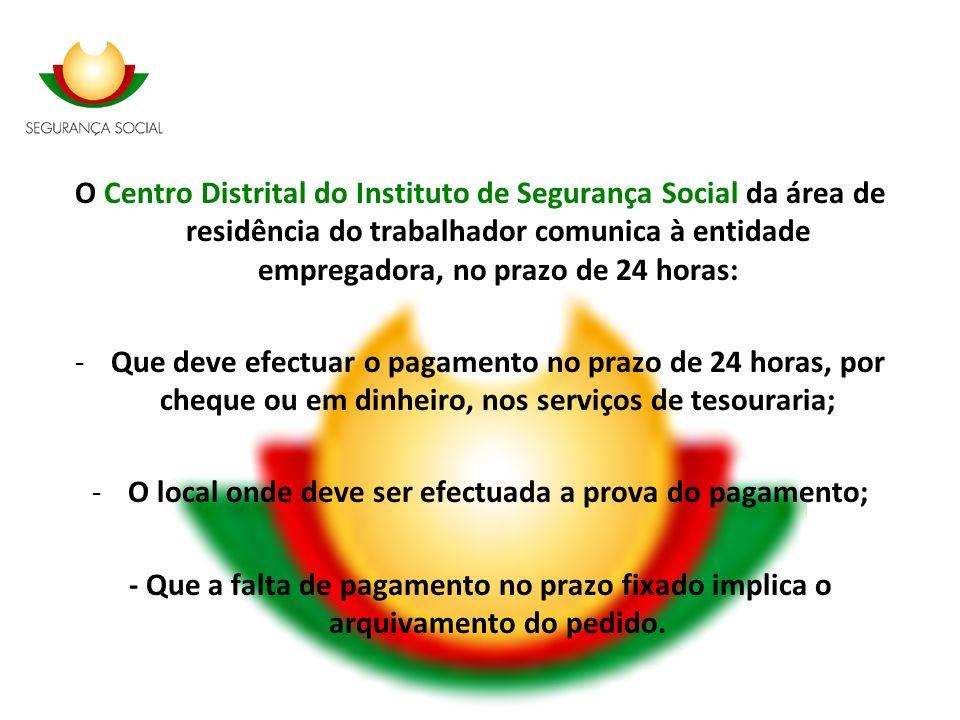 O Centro Distrital do Instituto de Segurança Social da área de residência do trabalhador comunica à entidade empregadora, no prazo de 24 horas: -Que d