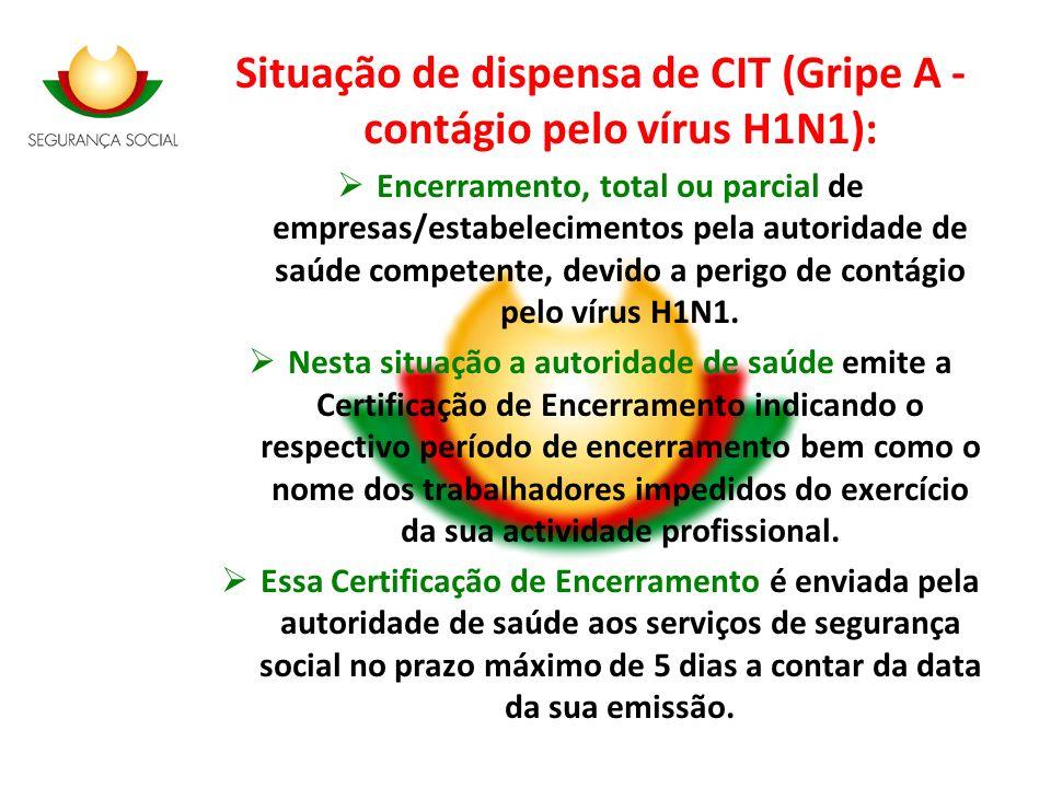 Situação de dispensa de CIT (Gripe A - contágio pelo vírus H1N1): Encerramento, total ou parcial de empresas/estabelecimentos pela autoridade de saúde
