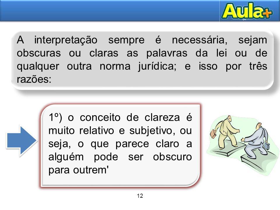 13AULA 1 2º) uma palavra pode ser clara segundo a linguagem comum e ter, entretanto, um significado próprio e técnico, diferente do seu sentido vulgar (p.