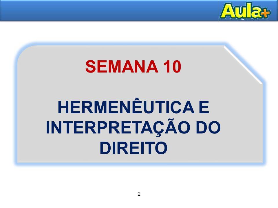 3 1– HERMENÊUTICA JURÍDICA E INTERPRETAÇÃO DO DIREITO 1.1 Conceito, importância e distinção entre hermenêutica e interpretação.