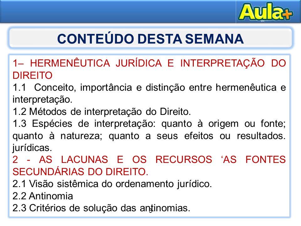4 AULA 1 1.Estabelecer a compreensão a respeito dos conceitos de heumenêutica e interpretação da norma.