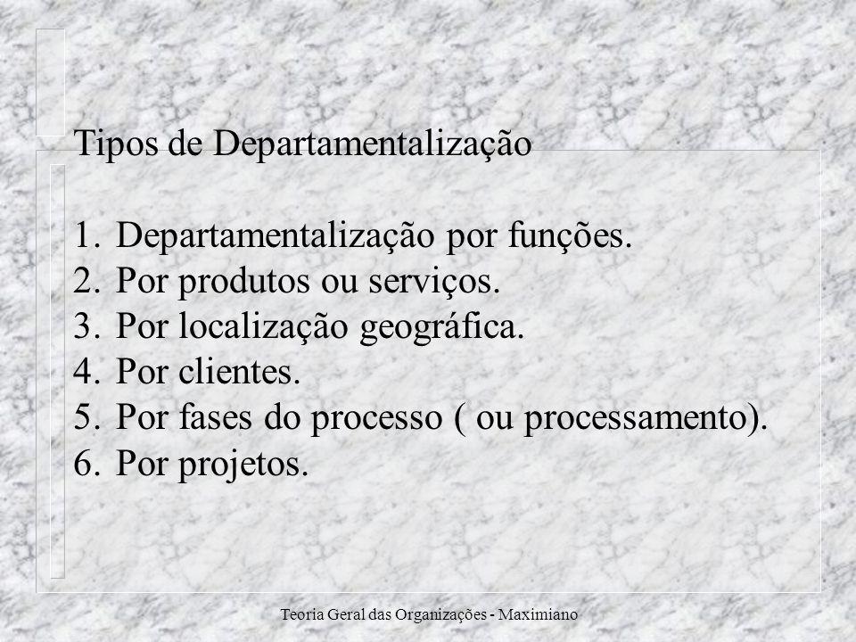 Teoria Geral das Organizações - Maximiano Tipos de Departamentalização 1.Departamentalização por funções. 2.Por produtos ou serviços. 3.Por localizaçã