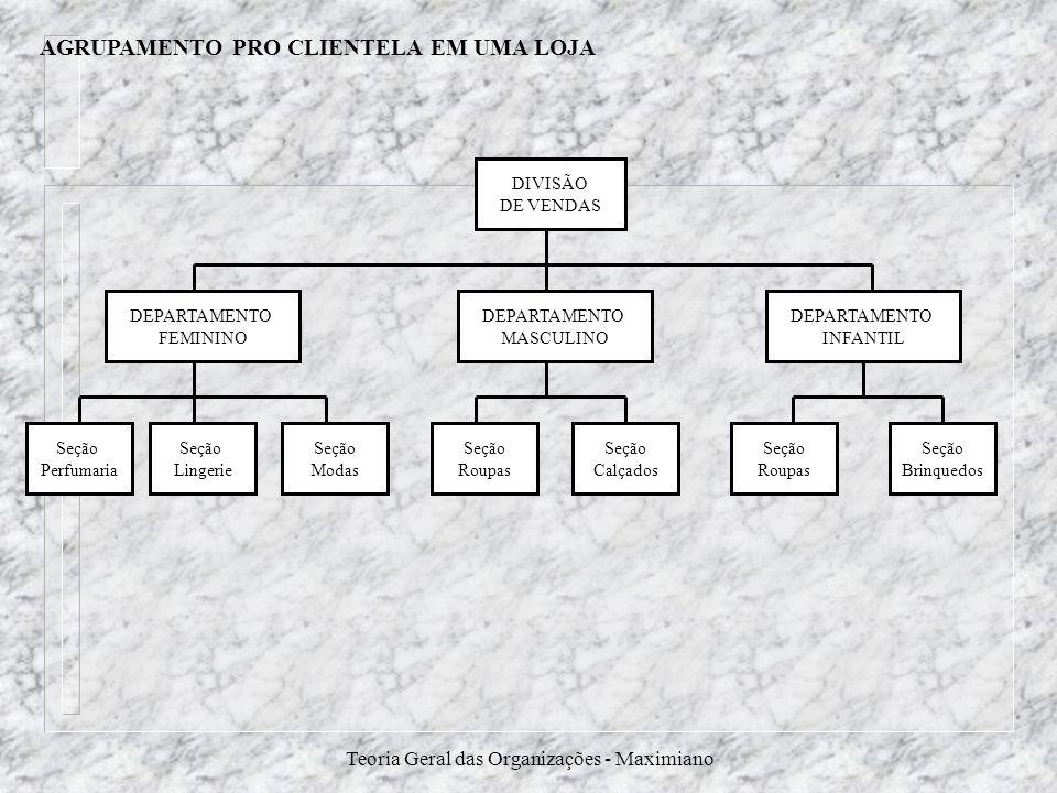 Teoria Geral das Organizações - Maximiano AGRUPAMENTO PRO CLIENTELA EM UMA LOJA DIVISÃO DE VENDAS DEPARTAMENTO INFANTIL DEPARTAMENTO FEMININO DEPARTAM
