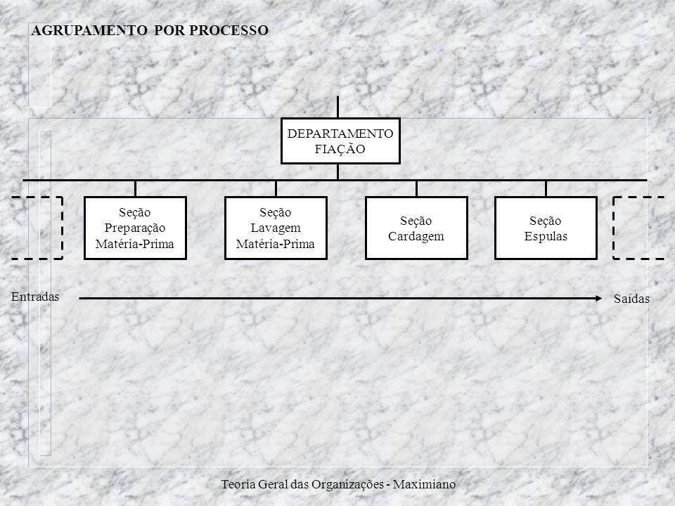 Teoria Geral das Organizações - Maximiano AGRUPAMENTO POR PROCESSO DEPARTAMENTO FIAÇÃO Seção Preparação Matéria-Prima Seção Espulas Seção Cardagem Seç