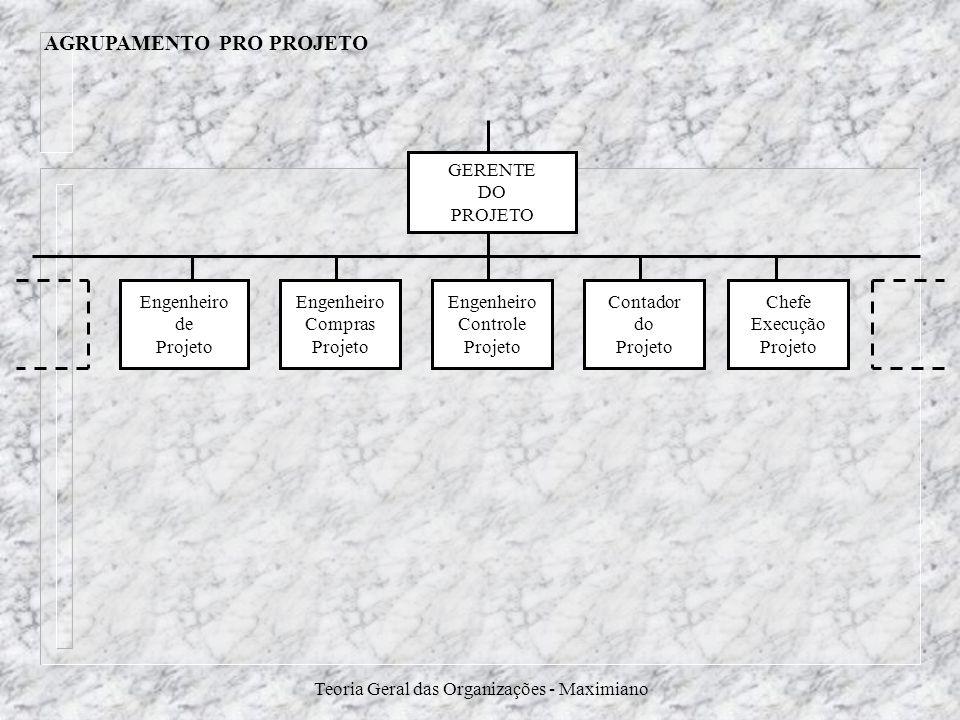 Teoria Geral das Organizações - Maximiano GERENTE DO PROJETO Engenheiro de Projeto Chefe Execução Projeto Contador do Projeto Engenheiro Compras Proje
