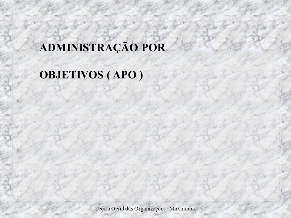 Teoria Geral das Organizações - Maximiano ADMINISTRAÇÃO POR OBJETIVOS ( APO )