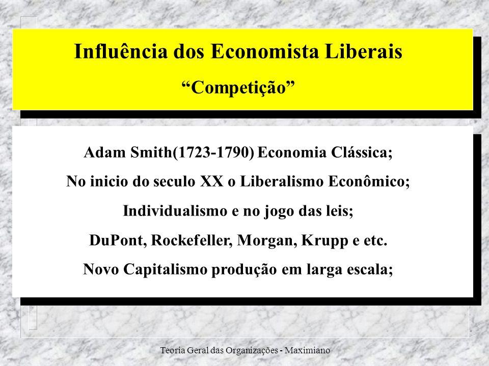Teoria Geral das Organizações - Maximiano Influência dos Economista Liberais Competição Adam Smith(1723-1790) Economia Clássica; No inicio do seculo X