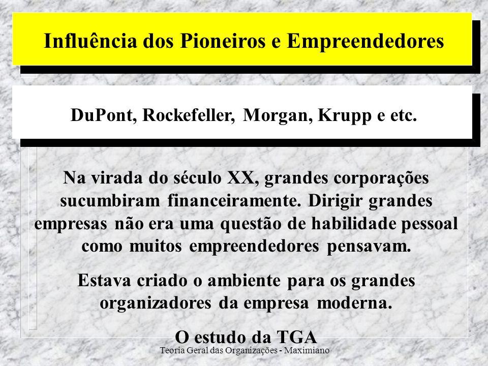 Teoria Geral das Organizações - Maximiano Influência dos Pioneiros e Empreendedores DuPont, Rockefeller, Morgan, Krupp e etc. Na virada do século XX,