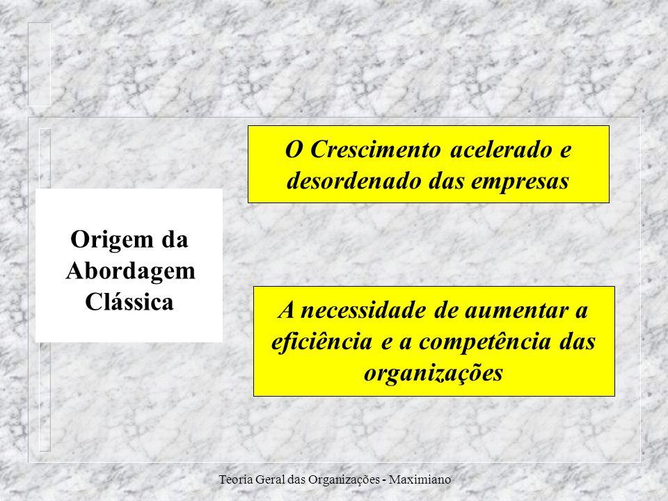 Teoria Geral das Organizações - Maximiano Origem da Abordagem Clássica O Crescimento acelerado e desordenado das empresas A necessidade de aumentar a