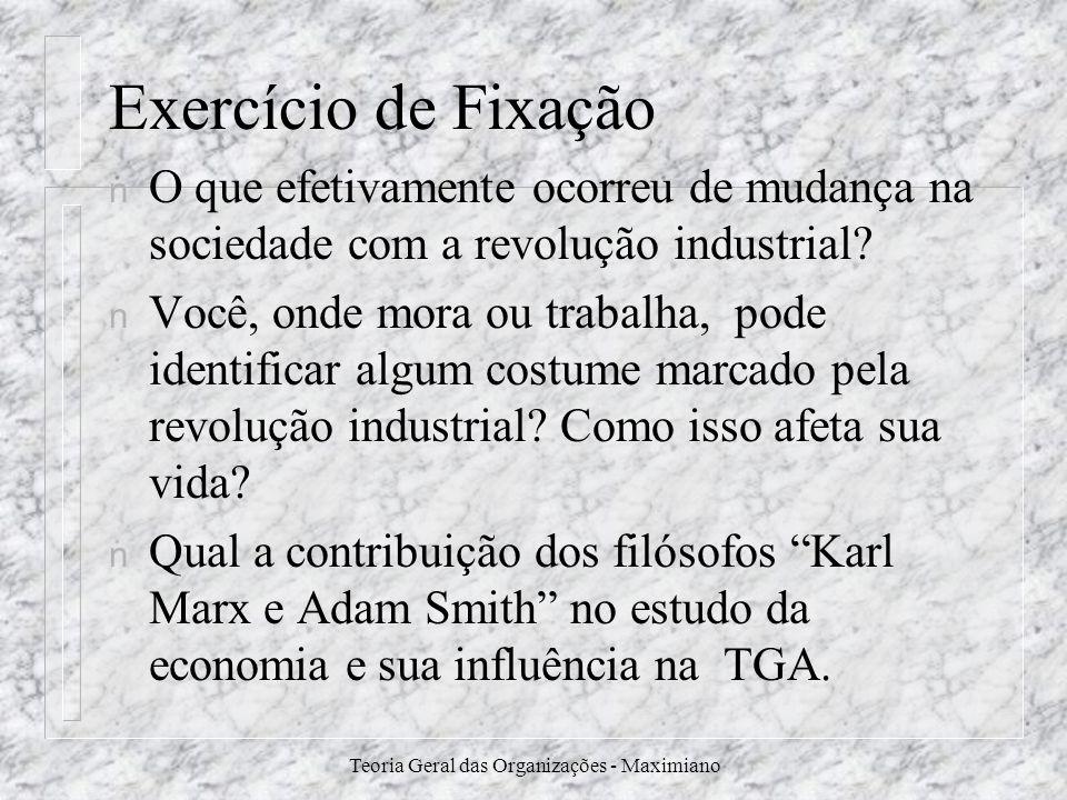 Teoria Geral das Organizações - Maximiano Exercício de Fixação n O que efetivamente ocorreu de mudança na sociedade com a revolução industrial? n Você