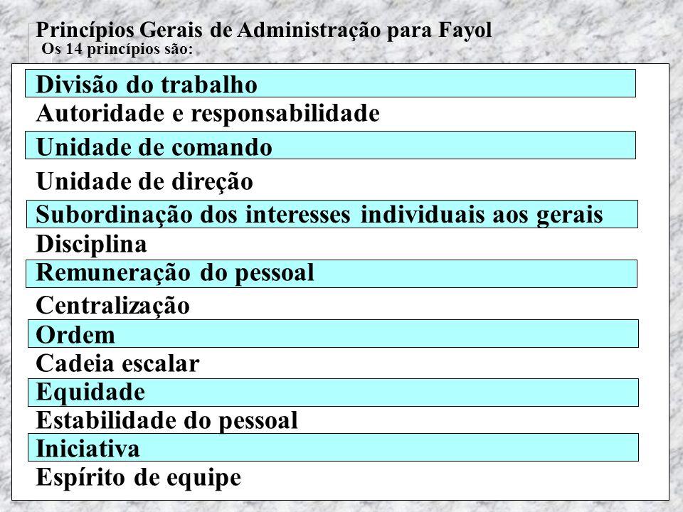 Teoria Geral das Organizações - Maximiano Princípios Gerais de Administração para Fayol Os 14 princípios são: Divisão do trabalho Autoridade e respons