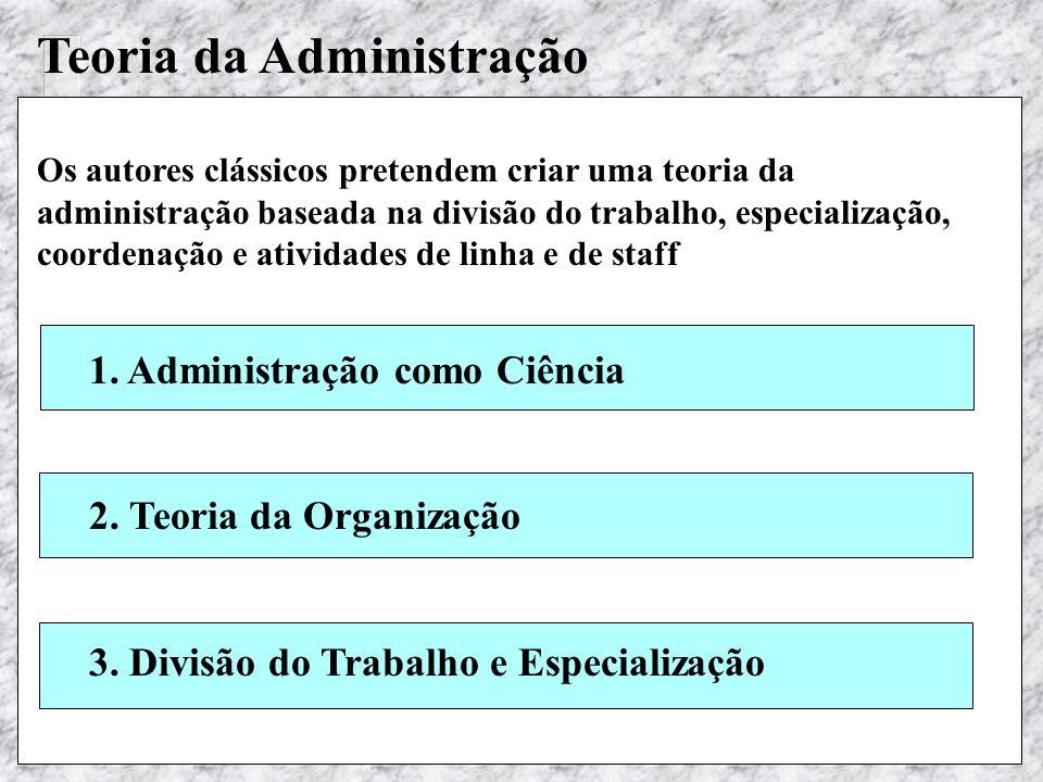 Teoria Geral das Organizações - Maximiano Teoria da Administração Os autores clássicos pretendem criar uma teoria da administração baseada na divisão