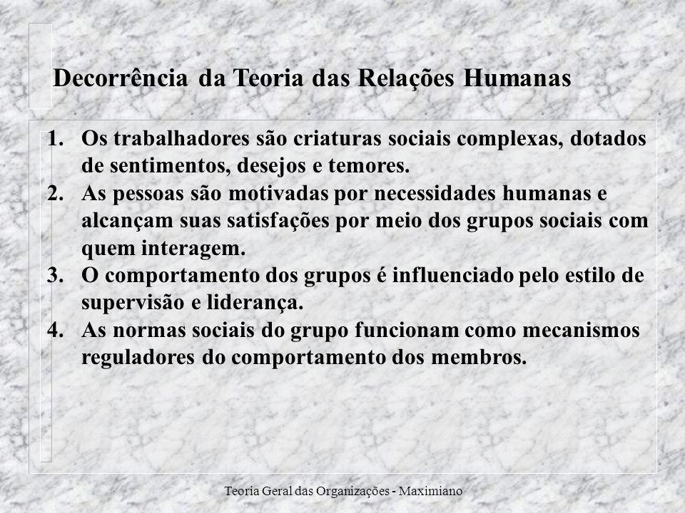Teoria Geral das Organizações - Maximiano Decorrência da Teoria das Relações Humanas 1.Os trabalhadores são criaturas sociais complexas, dotados de se