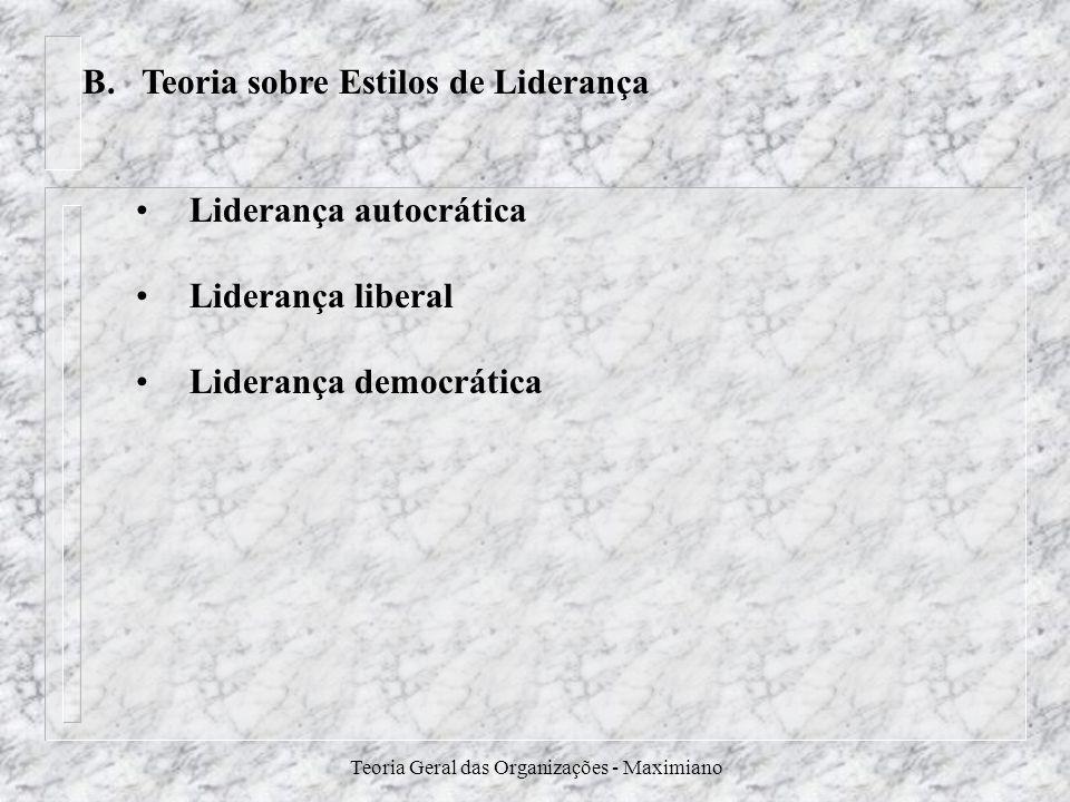 Teoria Geral das Organizações - Maximiano B. Teoria sobre Estilos de Liderança Liderança autocrática Liderança liberal Liderança democrática
