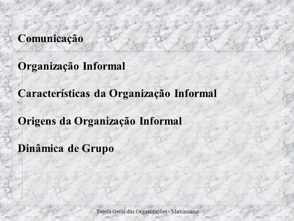 Teoria Geral das Organizações - Maximiano Comunicação Organização Informal Características da Organização Informal Origens da Organização Informal Din